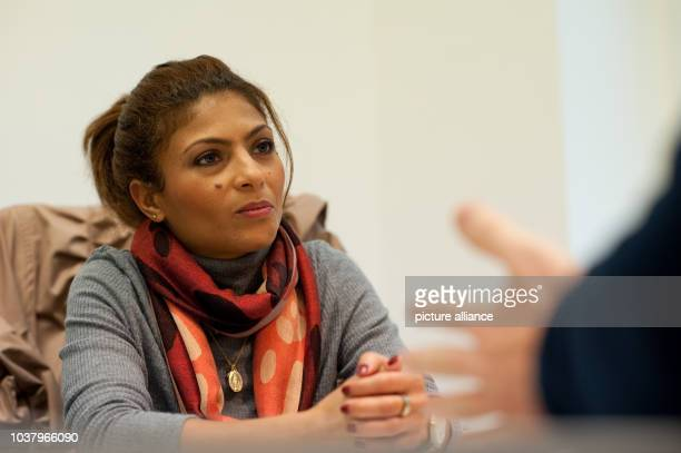 Ensaf Haidar the Canadianbased wife of imprisoned Saudi blogger Raif Badawi speaks during an interview with the German Press Agency dpa in...