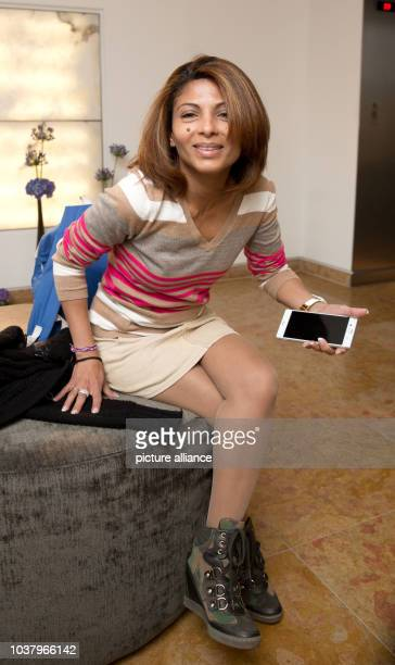 Ensaf Haidar wife of incarcerated Saudi Arabian writer Raif Badawi photographed during a press conference on the ceremony for the 'Ambassador of...