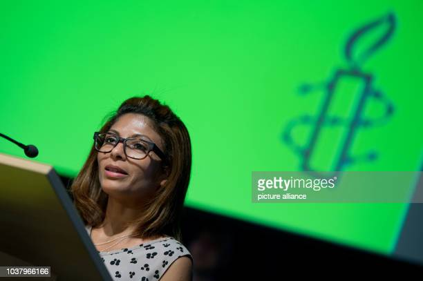 Ensaf Haidar wife of the imprisoned Saudi blogger Raif Badawi speaks as a guest at the annual conference of the German section of Amnesty...