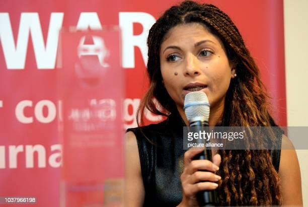 Ensaf Haidar wife of the political prisoner and Saudi Arabian internet activist Raif Badawi speaks during the award ceremony of the Raif Badawi...