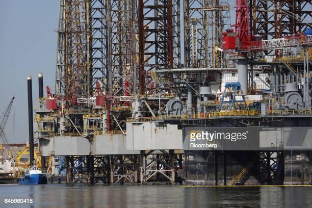 Ensco Plc oil drilling platforms stand at the Port of Galveston in Galveston, Texas, U.S., on Thursday, Feb. 16, 2017. The U.S. Census Bureau is...