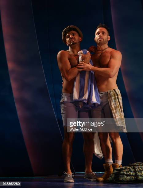 Ensemble cast perform at the Press Sneak Peak for the Jimmy Buffett Broadway Musical 'Escape to Margaritaville' on February 14 2018 at the Marquis...