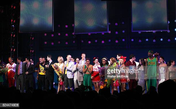 Ensemble Cast with Andy Blankenbueher LinManuel Miranda Tom Kitt Amanda Green Jeff Whitty Alex Lacamoire during the Broadway Opening Night...
