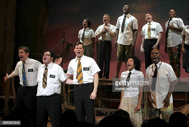 Rory O'Malley Josh Gad Andrew Rannells Nikki M James Michael Potts during the Broadway Opening Night Curtain Call for The Book Of Mormon at the...