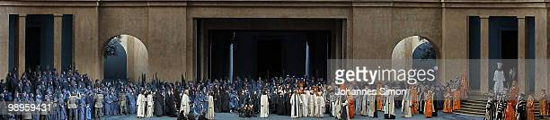 Ensemble members perform on stage during the Oberammergau passionplay 2010 final dress rehearsal on May 10 2010 in Oberammergau Germany The...