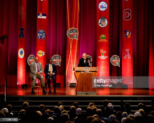 SPRINGFIELD MASSACHUSETTS SEPTEMBER 06 Enshrinee Paul Westphal gives his speech during the 2019 Basketball Hall of Fame Enshrinement Ceremony at...
