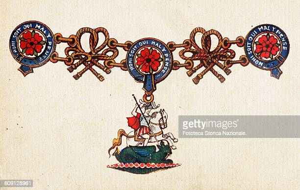 Ensign of the Order of the garter. Honi Soit Qui Mal Y Pense. It is the motto of the British chivalric Order of the Garter, founded by King Edward...