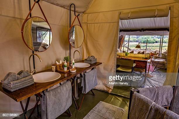En-suite bathroom of luxury family tent, Machaba Camp, Okavango Delta, Botswana