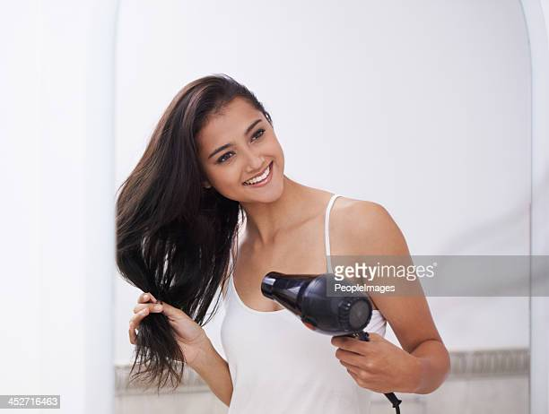 Ensuring that her hair stays smooth and sleek
