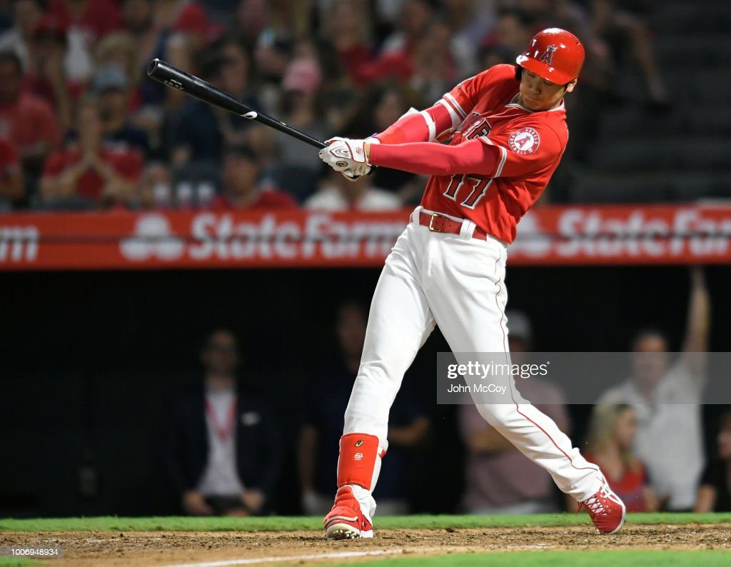 <<enter caption here>> at Angel Stadium on July 28, 2018 in Anaheim, California.