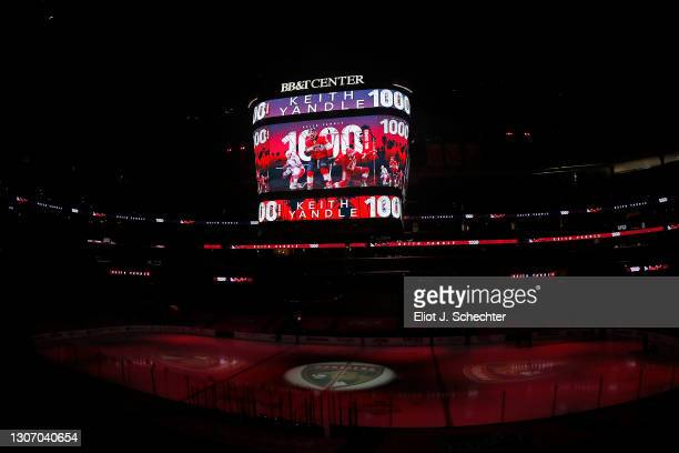 <<enter caption here>> at BB&T Center on March 13, 2021 in Sunrise, Florida.