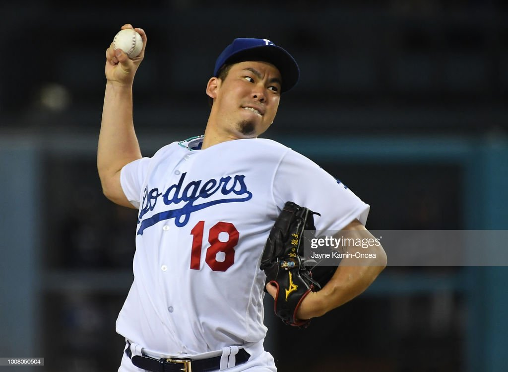 <<enter caption here>> at Dodger Stadium on July 30, 2018 in Los Angeles, California.