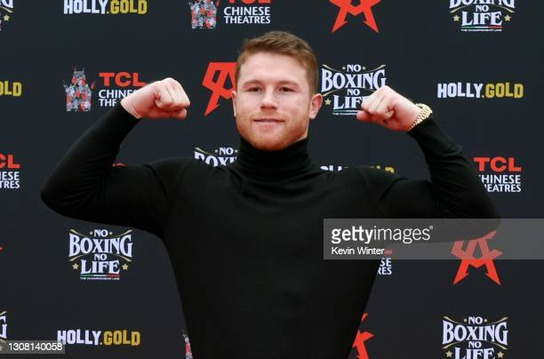 Enter caption here>> attends the Hand and Footprint Ceremony for boxer Canelo Alvarez at TCL Chinese Theatre on March 20, 2021 in Hollywood,...