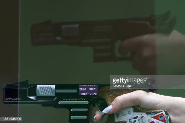 Enter caption here>> competes in 25m Pistol Women's Finals on day seven of the Tokyo 2020 Olympic Games at Asaka Shooting Range on July 30, 2021 in...