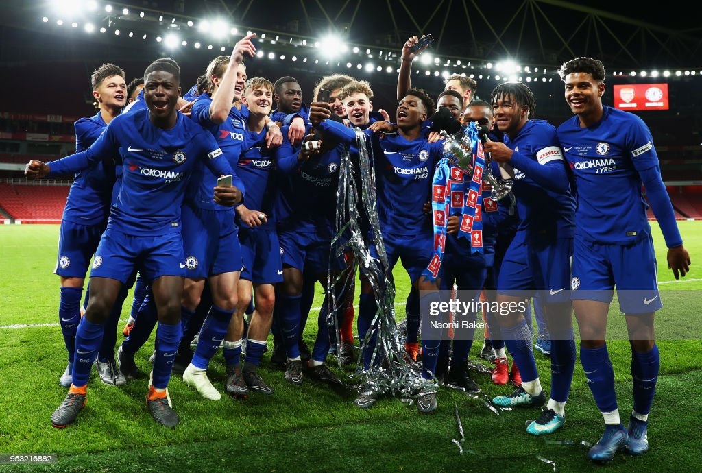 <enter caption here> during the FA Youth Cup Final, second leg match between Arsenal and Chelsea at Emirates Stadium on April 30, 2018 in London, England.