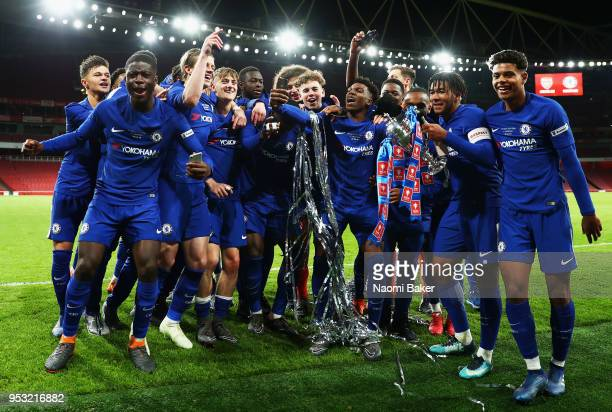 <enter caption here> during the FA Youth Cup Final second leg match between Arsenal and Chelsea at Emirates Stadium on April 30 2018 in London England
