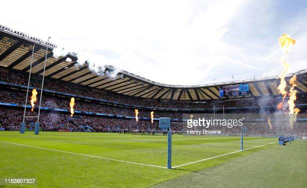 <enter caption here> during the Gallagher Premiership Rugby Final between Exeter Chiefs and Saracens at Twickenham Stadium on June 1 2019 in London...