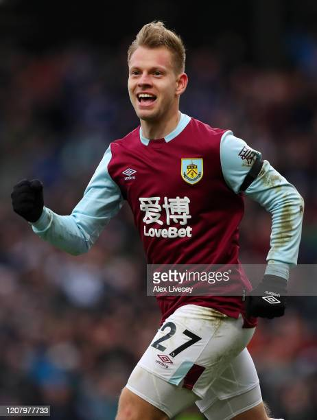 Enter caption here>> during the Premier League match between Burnley FC and AFC Bournemouth at Turf Moor on February 22, 2020 in Burnley, United...