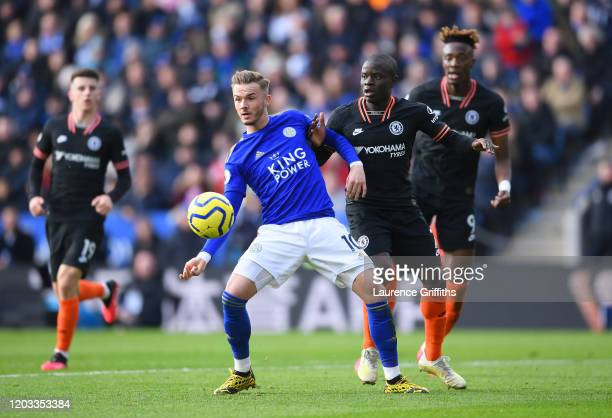 <<enter caption here>> during the Premier League match between Leicester City and Chelsea FC at The King Power Stadium on February 01 2020 in...