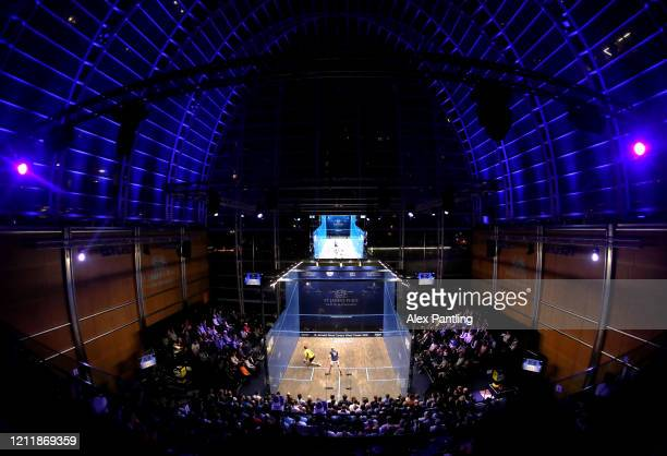 <<enter caption here>> during the Quarter Final match of The Canary Wharf Squash Classic between XX and XX on Day 4 at the East Wintergarden on March...