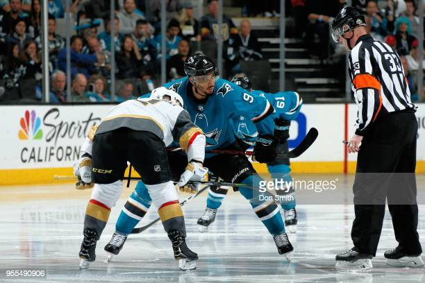 <<enter caption here>> in Game Six of the Western Conference Second Round during the 2018 NHL Stanley Cup Playoffs at SAP Center on May 6 2018 in San...