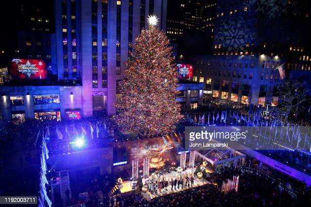 Enter caption here>> performs onstage at the 87th Annual Rockefeller Center Christmas Tree Lighting Ceremony at Rockefeller Center on December 04,...