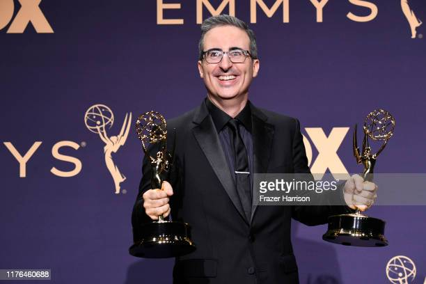 Enter caption here>> poses in the press room during the 71st Emmy Awards at Microsoft Theater on September 22, 2019 in Los Angeles, California.