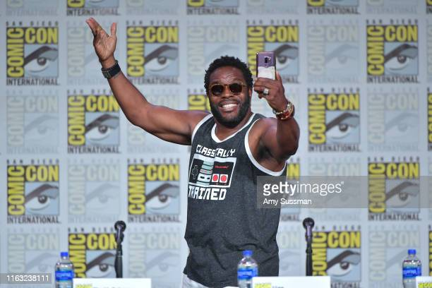 <<enter caption here>> speaks at The Orville Panel during 2019 ComicCon International at San Diego Convention Center on July 20 2019 in San Diego...