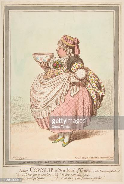 Enter Cowslip with a Bowl of Cream. - vide Brandenburg Theatricals, June 13 Hand-colored etching, sheet : 13 3/16 x 8 7/8 in. , Prints, James Gillray...