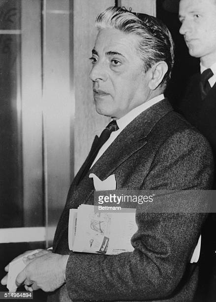 Enter Mr Aristotle Onassis the Greek millionaire shipowner at London Airport He had flown in from Nice Being a millionaire Mr Onassis entered first...