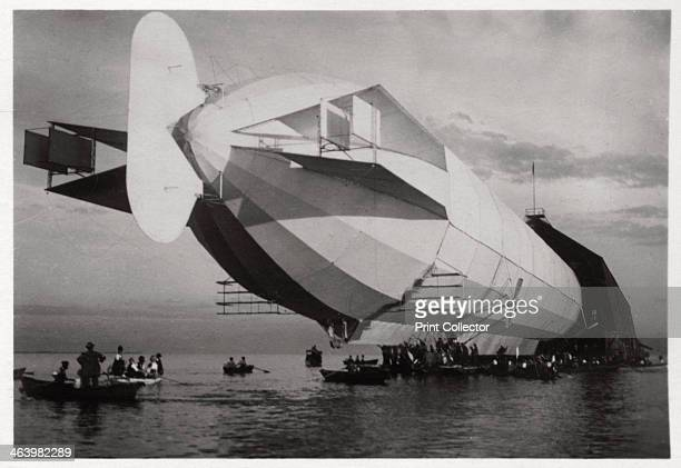 LZ 6 entering a floating hanger Halle Germany c19091910 Floating hangars were used to house the early Zeppelins as they could be aligned to the wind...