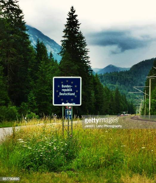 entering bavaria, germany, from austria - national border stock pictures, royalty-free photos & images