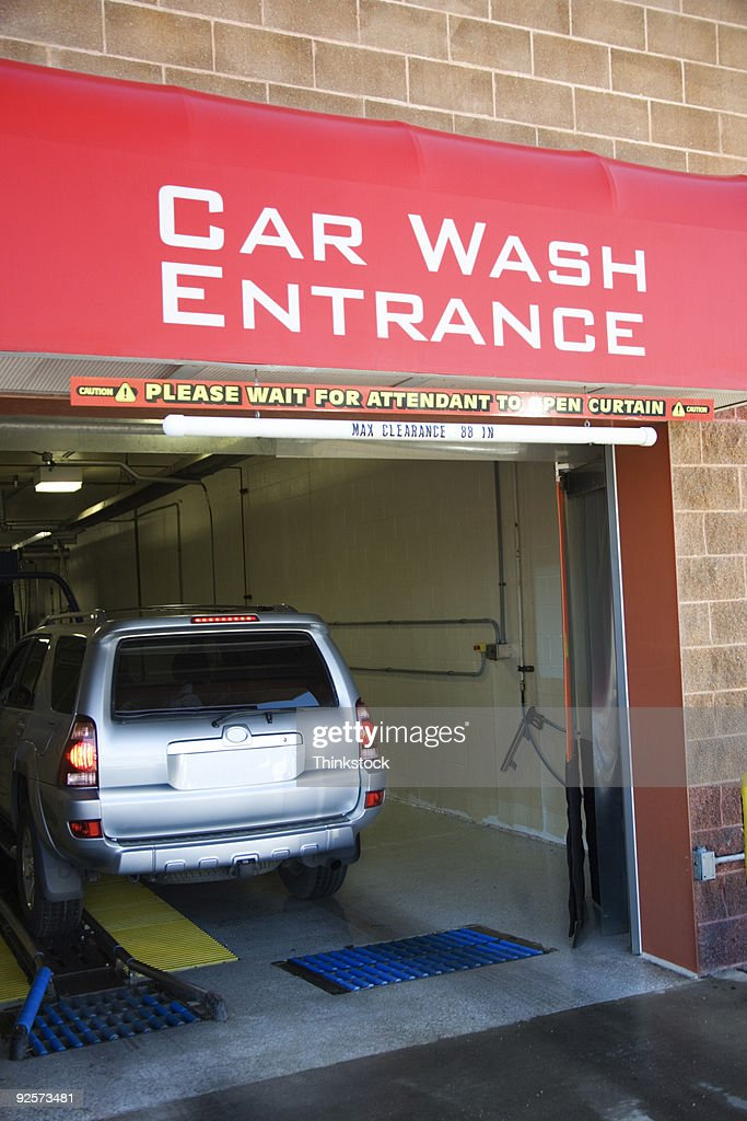SUV entering car wash : Stock Photo