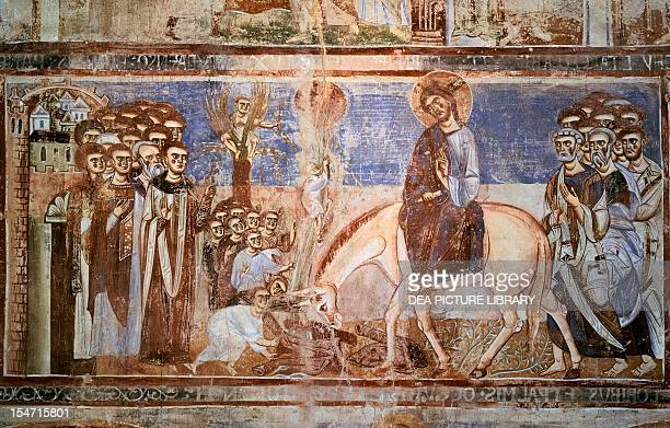 Entering Jerusalem 10721087 fresco from the nave of the Basilica of Sant'Angelo in Formis Sant'Angelo in Formis Campania Italy 11th century