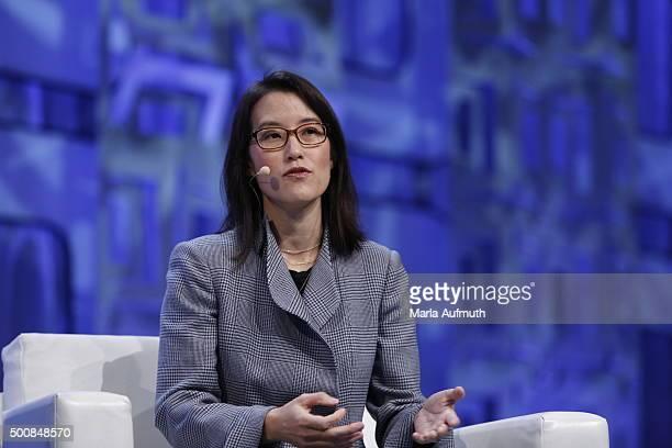 Enterpreneur investor writer Ellen Pao speaks on stage during Massachusetts Conference For Women at Boston Convention Exhibition Center on December...