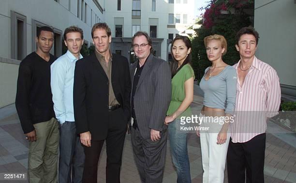 'Enterprise' cast members Anthony Montgomery Conner Trinneer Scott Bakula John Billingsley Linda Park Jolene Blalock and Dominic Keating at UPN's...