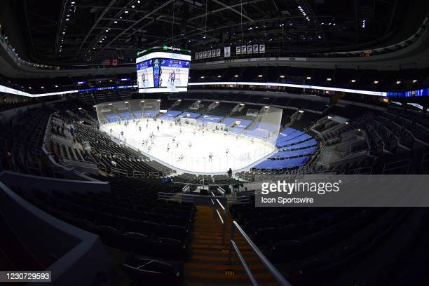 Enterprise Center during ;player warmups before an NHL game between the San Jose Sharks and the St. Louis Blues on January 20 at Enterprise Center,...