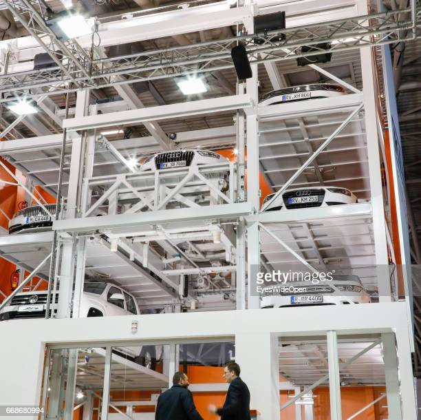 Enterprise Klaus multiparking offers and demonstrates automatic car parking systems at the exhibition grounds of the fair Bau Messe on January 17...