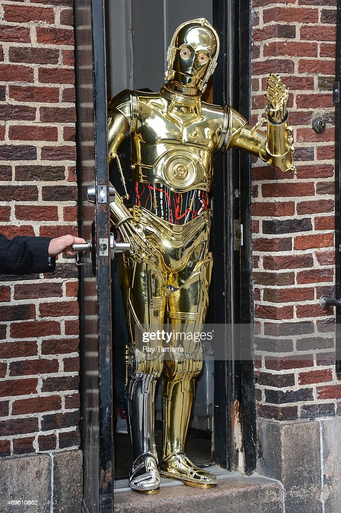 C-3PO enters the 'Late Show With David Letterman' taping at the Ed Sullivan Theater on April 13, 2015 in New York City.