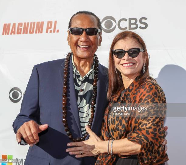 Entertainer Al Harrington and his wife attend the Sunset On The Beach event celebrating the 50th anniversary of 'Hawaii Five0' and the premiere of...
