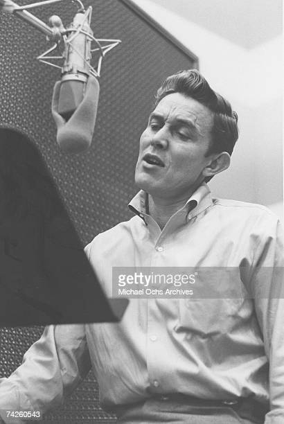 Entertainer and businessman Jimmy Dean recording in the studio in circa 1957