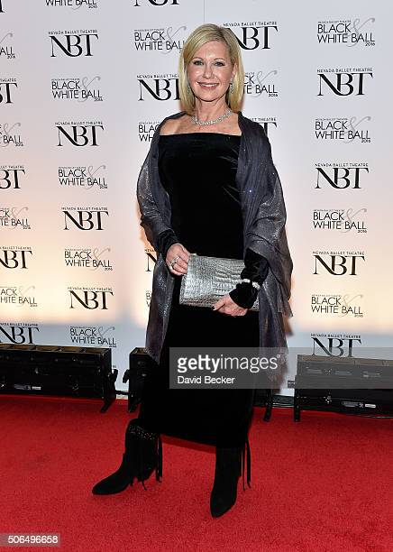 Entertainer and honoree Olivia NewtonJohn attends Nevada Ballet Theatre's 32nd annual Black White Ball at Wynn Las Vegas on January 23 2016 in Las...