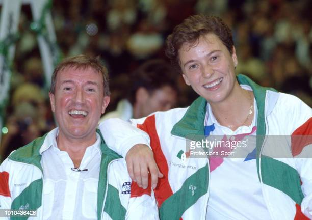 Entertainer and TV Personality Roy Castle and British tennis player Jo Durie at Cliff Richard's Pro Celebrity Charity Tennis competition at the...
