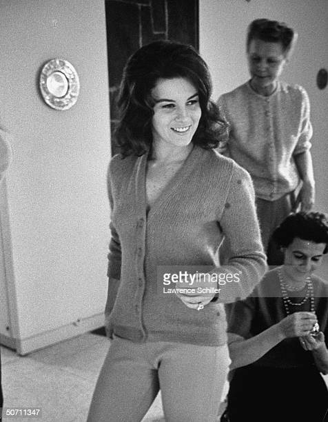Entertainer AnnMargret at home w mother Anna in bkgrd