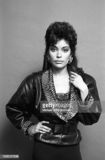 Entertainer Apollonia Kotero poses for a portrait session for Fresh Magazine in December 1985 in Los Angeles California