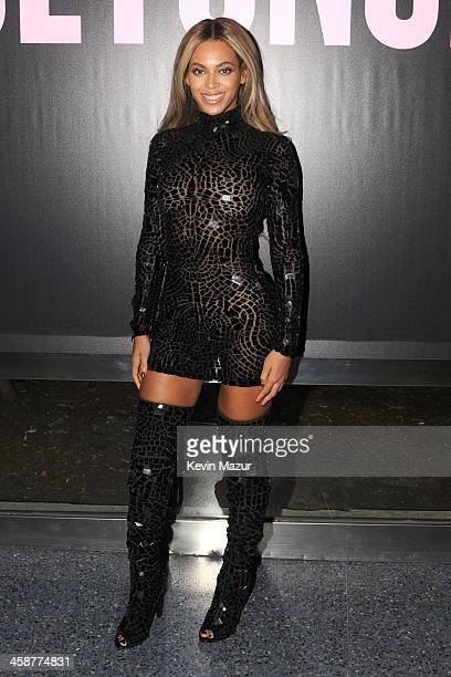 """Entertainer Beyonce attends a release party and screening for her new self-titled album """"Beyonce"""" at the School of Visual Arts Theater on December..."""