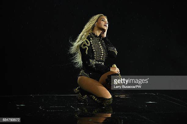 Entertainer Beyonce on stage during 'The Formation World Tour' at Soldier Field on May 27 2016 in Chicago Illinois