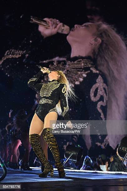 Entertainer Beyonce on stage during The Formation World Tour at Soldier Field on May 27 2016 in Chicago Illinois