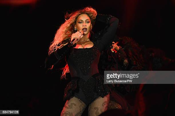 "Entertainer Beyonce on stage during ""The Formation World Tour"" at Soldier Field on May 27, 2016 in Chicago, Illinois."