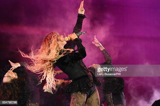 """Entertainer Beyonce on stage during """"The Formation World Tour"""" at Soldier Field on May 27, 2016 in Chicago, Illinois."""